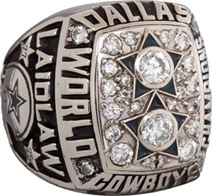 Dallas Cowboys Super Bowl XII championship ring given to running back Scott Laidlaw. Image courtesy of LiveAuctioneers.com archive and Heritage Auctions.