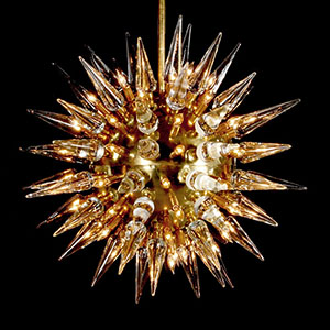 Monumental 'Sputnik'/starburst chandelier with illuminating glass spikes, $19,520. PBMA image