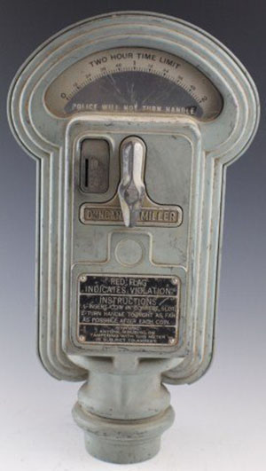 1940s Duncan Miller parking meter that accepts pennies and nickles. Image courtesy of LiveAuctioneers.com and Manor Auctions.