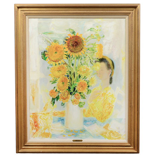 "Le Pho (Vietnamese, 1907-2001), 'Girl with Vase of Flowers,"" oil on canvas, signed, 36 x 28 inches. Est. $20,000-$30,000. AGOPB image"