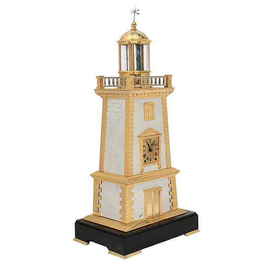 Circa-1885 French industrial lighthouse clock with sterling silver weathervane, oscillating pendulum designed by Guilmet, movement stamped 'GLT Paris' and 'Vincenti,' 25¼ inches high. Est. $10,000-$15,000. AGOPB image