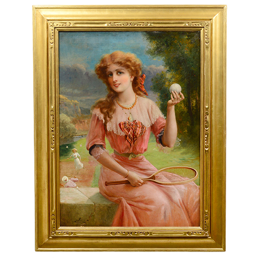Emile Vernon (1872-1919), 'Lady Tennis Players,' oil on canvas, signed, 35¾ x 26 inches. Est. $12,000-$18,000. AGOPB image