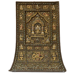 Rare 19th-century Tibetan filigreed votive plaque set with hundreds of semiprecious cabochon stones on gilt copper base. Overall 33¾ x 28 inches. Est. $50,000-$70,000. AGOPB image
