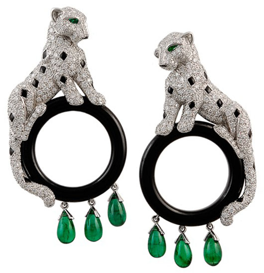 Cartier 18K white gold diamond, emerald and black onyx Windsor Panthere earrings. Image courtesy Los Angeles Jewelry, Antiques & Design Show