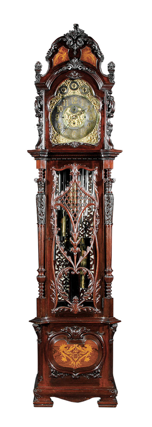 This elaborate mahogany tall case clock with nine tubes and two different chimes dates from about 1890. It auctioned recently for $13,743 at Neal Auction Co. in New Orleans.