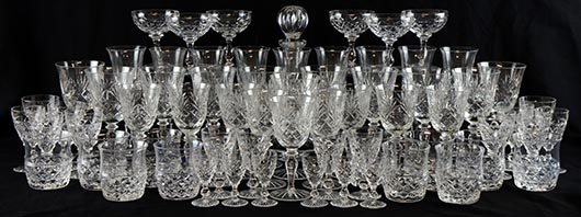 Pass the bottle: a good Stuart Crystal suite of glass comprising everything required for a well-stocked table. It sold for £240. Photo Ewbank's Auctioneers