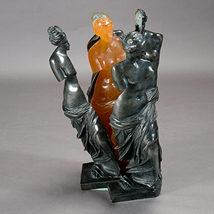 A top lot was a bronze titled the 'Birth of Venus' which realized of $24,780. The unusual and striking work depicted a Daum glass female deity emerging from a deconstructed, four-piece bronze shell of her likeness. Michaan's image