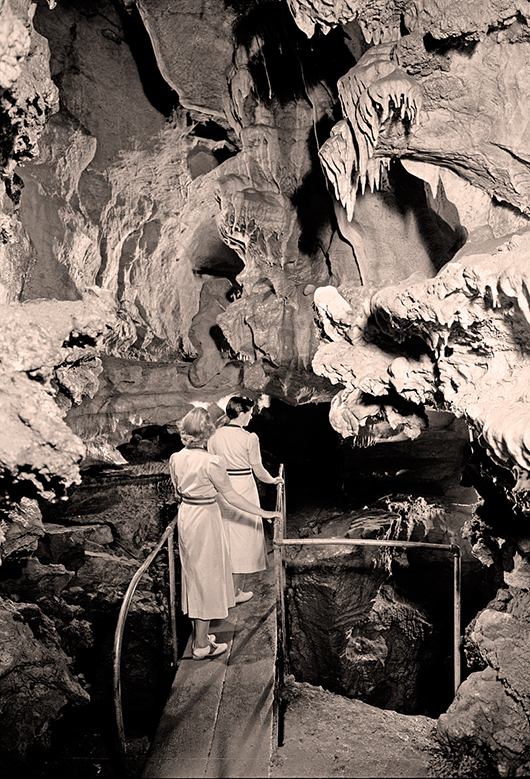 Visitors exploring the Oregon Caves in the 1940s. National Park Service photo courtesy of Wikimedia Commons.