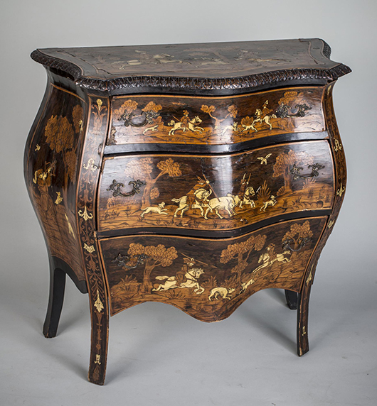 Continental marquetry bombe commode, with a serpentine-fronted top over three drawers. Sold for $4,200. Capo Auction image