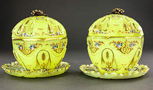 Pair of unique 19th century Imperial yellow cut glass Bohemian bonbonnieres that sold for $190,000 (hammer price). Artingstall & Hind Auctioneers