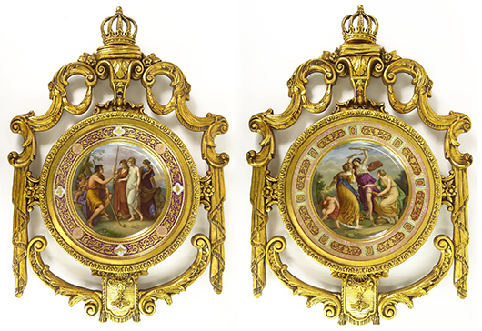 Lots 63 and 64, two 19th-20th century Royal Vienna porcelain chargers, 'Urtheil de Paris' (Judgment of Paris) and 'Grazien U. Schlaftender Amor,' totaled $16,520. Kodner Galleries image.