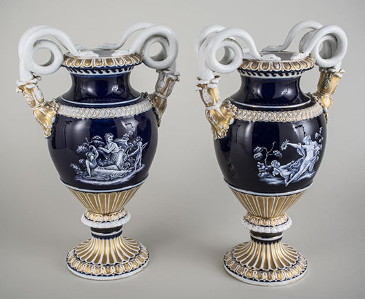 Pair of Meissen porcelain urns, each with a pair of snake-form handles. Sold for $7,800. Capo Auction image