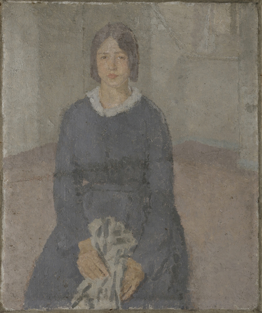 Gwen John (1876-1939), 'Girl in a Blue Dress Holding a Piece of Sewing', oil on canvas, included in 'Homage to Manet' at Norwich Castle Museum. Image courtesy ©Norwich Castle Museum & Art Gallery.