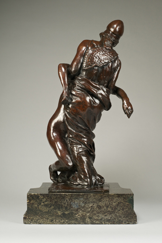 'La Sagesse Soutenant La Liberté' (Wisdom Supporting Freedom) by Aimé-Jules Dalou (1838-1902), bronze, included in Bowman Sculpture's show devoted to the great French artist running until Jan. 31. Image courtesy of Robert Bowman