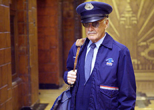 Stan Lee in his supporting role as postman Willie Lumpkin in the 2005 movie 'Fantastic Four,' 20th Century Fox. Fair use of low-resolution image. All Marvel characters and the distinctive likeness(es) thereof are Trademarks & Copyright © 2005 Marvel Characters, Inc. All rights reserved.