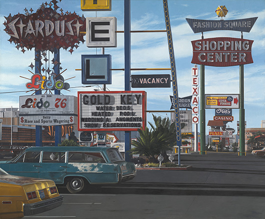 John Baeder, 'Stardust Motel,' 1977. Oil on canvas, 58 x 70 in. (147.32 x 177.8 cm). Yale University Art Gallery, Richard Brown Baker, B.A. 1935, Collection. Courtesy of the artist