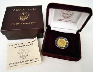 1990 American Eagle five dollar gold coin. Stephenson's Auctioneers image