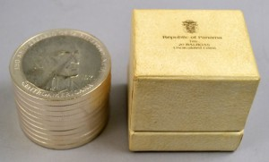 Republic of Panama, ten 20-Balboa uncirculated sterling silver coins. Stephenson's Auctioneers image