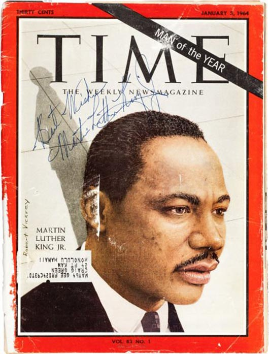 The Rev. Martin Luther King was pictured on Jan. 3, 1964 cover of 'Time' magazine as Man of the Year. Image courtesy of LiveAuctioneers.com archive and Heritage Auctions.