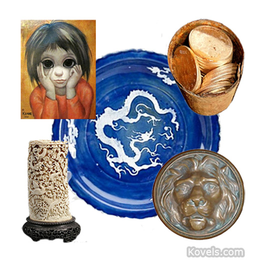 Clockwise from upper left: Keane painting, Chinese plate, can of gold coins, antiquated doorknob and carved ivory. Image courtesy Kovels.com