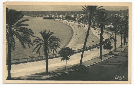 An American serviceman sent this postcard from the French Riviera city of Nice while on furlough in August 1945.