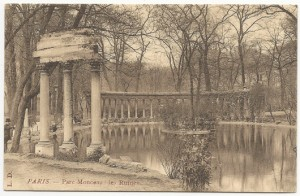 Parc Monceau was designed with an effort to capture all times and places. One of its follies included this scaled-down Roman colonnade.