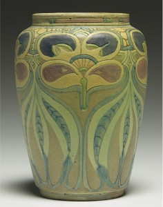Although he produced art pottery and tiles both before and after his residency at University City, important works by Frederick Rhead seldom come on the market. This small vase with an incised organic pattern was hammered down for $21,000 at Treadway Toomey in 2007. Treadway Toomey Auctions image
