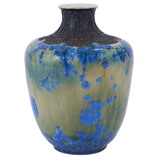 This 4-inch vase with a crystalline floral glaze and carved neck was made by Adelaide Alsop Robineau. Marked with her logo and dated 1919, the work brought $35,600 with premium at Treadway Toomey Auctions in December. Treadway Toomey Auctions image