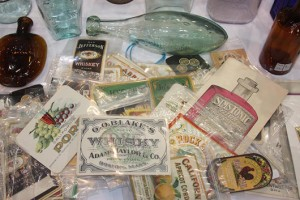 There is also strong demand among collectors for antique bottle labels, which can be purchased cheaply and are easy to store. The pointed bottle at the top of the picture is a Hamilton. Ironically it came originally from Bournemouth.