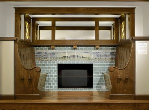 The Rheads also created architectural tile patterns for interior decoration. A fireplace surround with landscape frieze was created in 1911 for the home of John J. Meacham in University City and is now permanently installed in the St. Louis Art Museum nearby. St. Louis Art Museum image