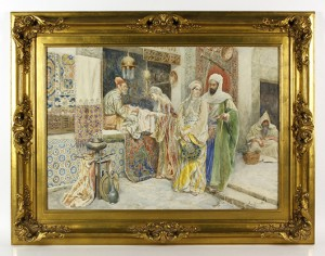 Ettore Simonetti (Italian, 1857-1909), 'Market Scene,' watercolor. Price realized: $21,600. Kaminski Auctions image