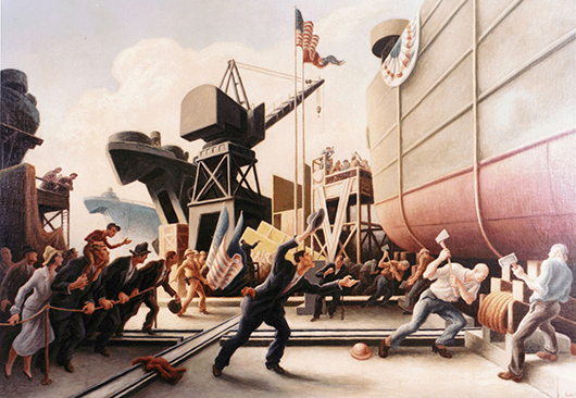 Thomas Hart Benton's 'Cut the Line' (1944), depicting the launch of a U.S. Navy tank landing ship. Image courtesy of Wikimedia Commons.