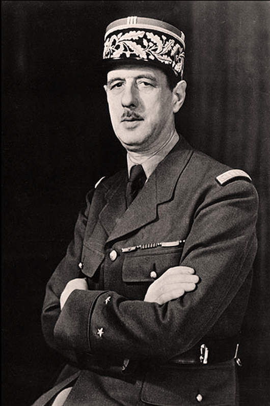 A WWII photo portrait of General Charles de Gaulle of the Free French Forces and first president of the Fifth Republic serving from 1959 to 1969.