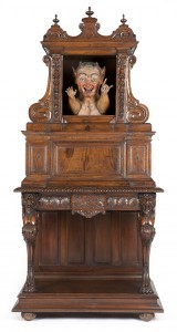 Informally dubbed the 'mystery cabinet,' this devious 18th century Italian automaton cabinet has been estimated to bring $6,000 to $8,000. John Moran Auctioneers