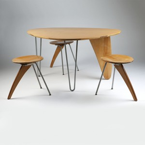 Pictured are the single-owner Noguchi 'Rudder' table and stools to be offered as individual lots in Moran's Feb. 17 Decorative Arts Auction. John Moran Auctioneers