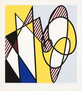 This dynamic abstract composition by Roy Lichtenstein (1923-1997 Southampton, N.Y.), titled 'Best Buddies,' carries an estimate of $12,000 to $18,000 John Moran Auctioneers