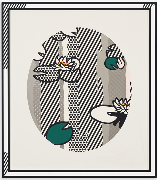 Roy Lichtenstein, 'Water Lilies (Pink Flower),' 1992, screenprinted enamel on processed and swirled stainless steel. Estimate: $70,000-$90,000. Wright image