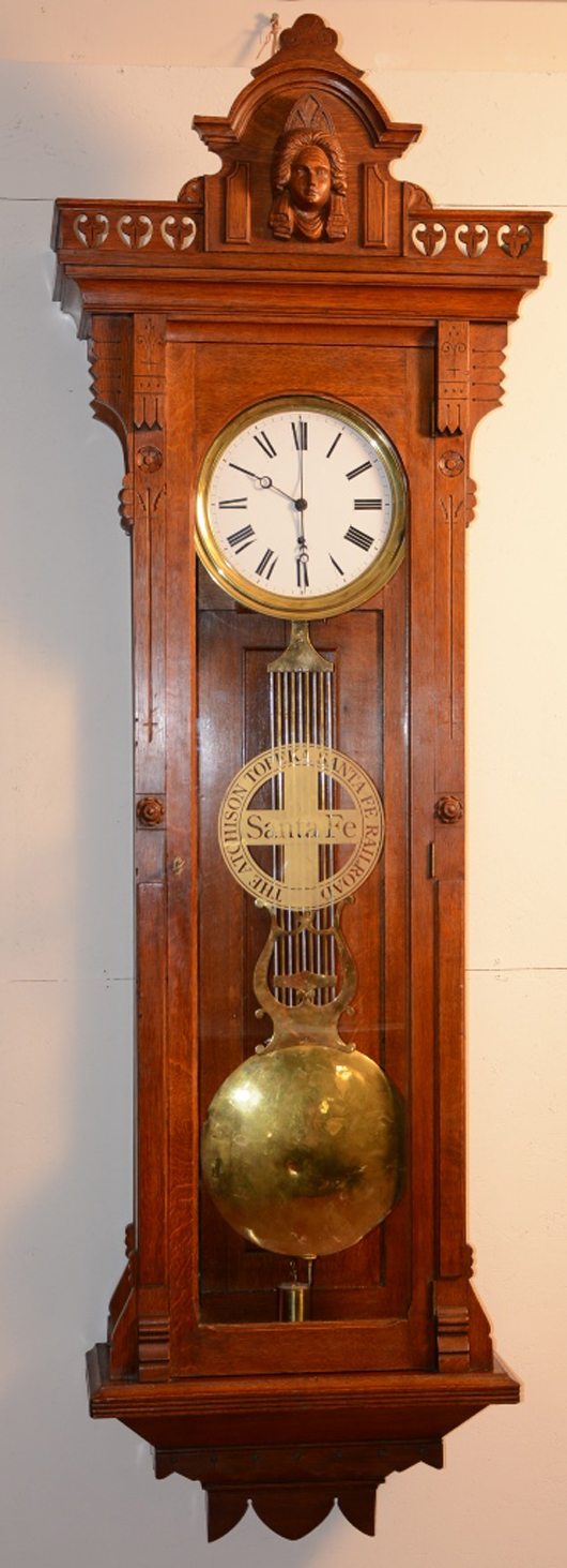 New Haven Regulator No. 2 Santa Fe Railroad depot clock, circa 1880, 90 x 28 inches, original paper label on inside. Estimate $3,800-$4,500. Bruhns Auction Gallery image