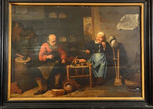 D. Ryckaert (Flemish, active 17th century), 'Dutch Cobblers Workshop,' dated 1643, 23 x 33 inches. Estimate $30,000-$50,000. Bruhns Auction Gallery image
