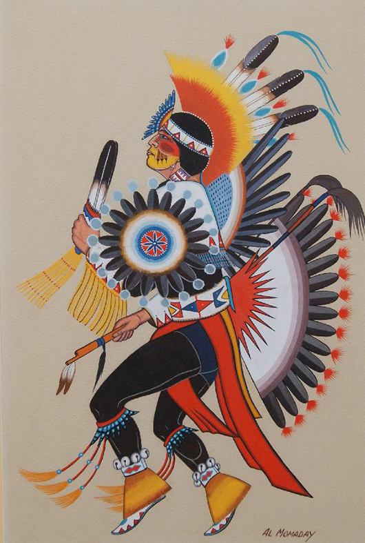 This 1950s/'60s painting, which is unrelated to the art discovery made by Albuquerque police, is an example of Alfred Morris Momaday's (Native American, 1913-1981) artistic style. It depicts a Kiowa Indian dancer and was sold at auction on Oct. 16, 2010. Image courtesy of LiveAuctioneers Archive and R.G. Munn Auction, Mayhill, N.M.