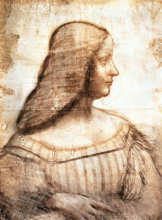 Da Vinci's 'Portrait of Isabella d'Este,' 1499-1500, an authenticated version of the subject which hangs in the Louvre. Image courtesy of Wikimedia Commons.