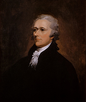 Oil on canvas portrait of Alexander Hamilton by John Trumbull. Image courtesy of Wikimedia Commons