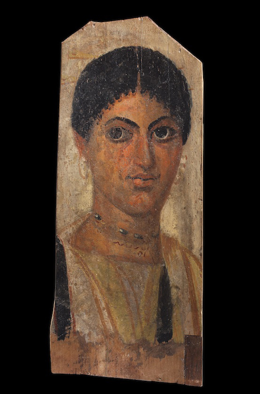 Excavated in the late 19th century and later included in a number of renowned European collections, this Roman period Egyptian portrait will be on show at the stand of Charles Ede Ltd. at the European Fine Art Fair in Maastricht. Image courtesy Charles Ede Ltd.