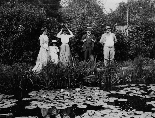 Joseph Durand-Ruel, Georges Durand-Ruel and Claude Monet at the water lily pond in Giverny, 1900. Photograph Archives Durand-Ruel, © Durand-Ruel & Cie. 'Inventing Impressionism' is at the National Gallery from March 4 to May 31.