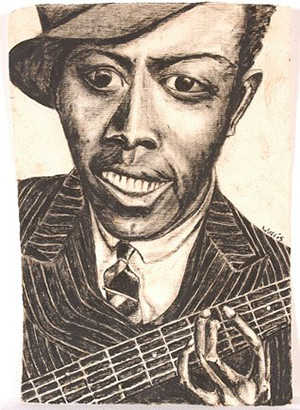 Robert Johnson by Josephine Wallace, charcoal on paper. Signed. 1999. Image courtesy of LiveAuctioneers.com archive and Slotin Folk Art.