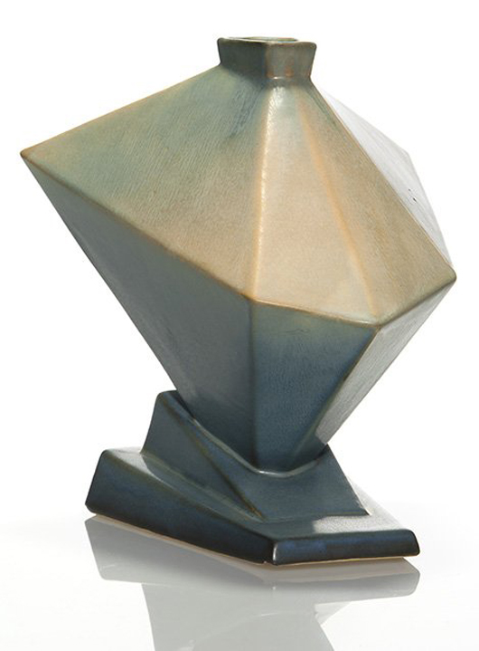 The holy grail of modernist Roseville is the rare 'Tank' vase from the Futura line introduced in the 1920s. Monsen used the streamlined form as the cover illustration for his first book on the pottery. The rare design became the top lot of the March auction, selling for $13,500 (est. $8,000-$10,000). Humler & Nolan image