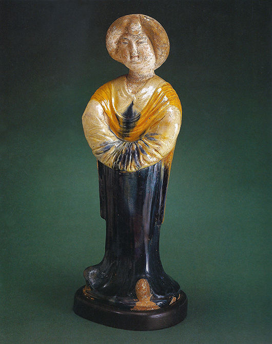 A promised gift of artwork from David Rockefeller's estate includes an eighth-century Tang Dynasty figure of a standing court lady, which was displayed in Rockefeller's office at 30 Rockefeller Plaza. Credit: David Rockefeller Collection