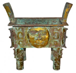 Shang, bronze Fang Ding with human face. Gianguan Auctions Art Gallery image