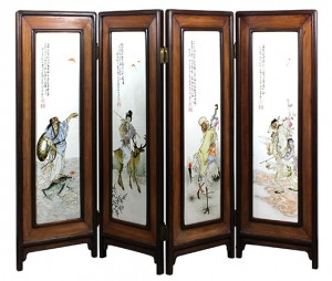 This four-panel screen with porcelain plaques and depicting various immortals, bearing the signature Wang Qi, is estimated to sell for $8,000 to $12,000. Clars Auction Gallery image