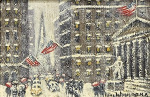 This classic, Impressionist, New York winter snow scene by Guy Carleton Wiggins (American, 1883-1962) titled 'Wall Street' will be offered for $8,000 to $12,000. Clars Auction Gallery image